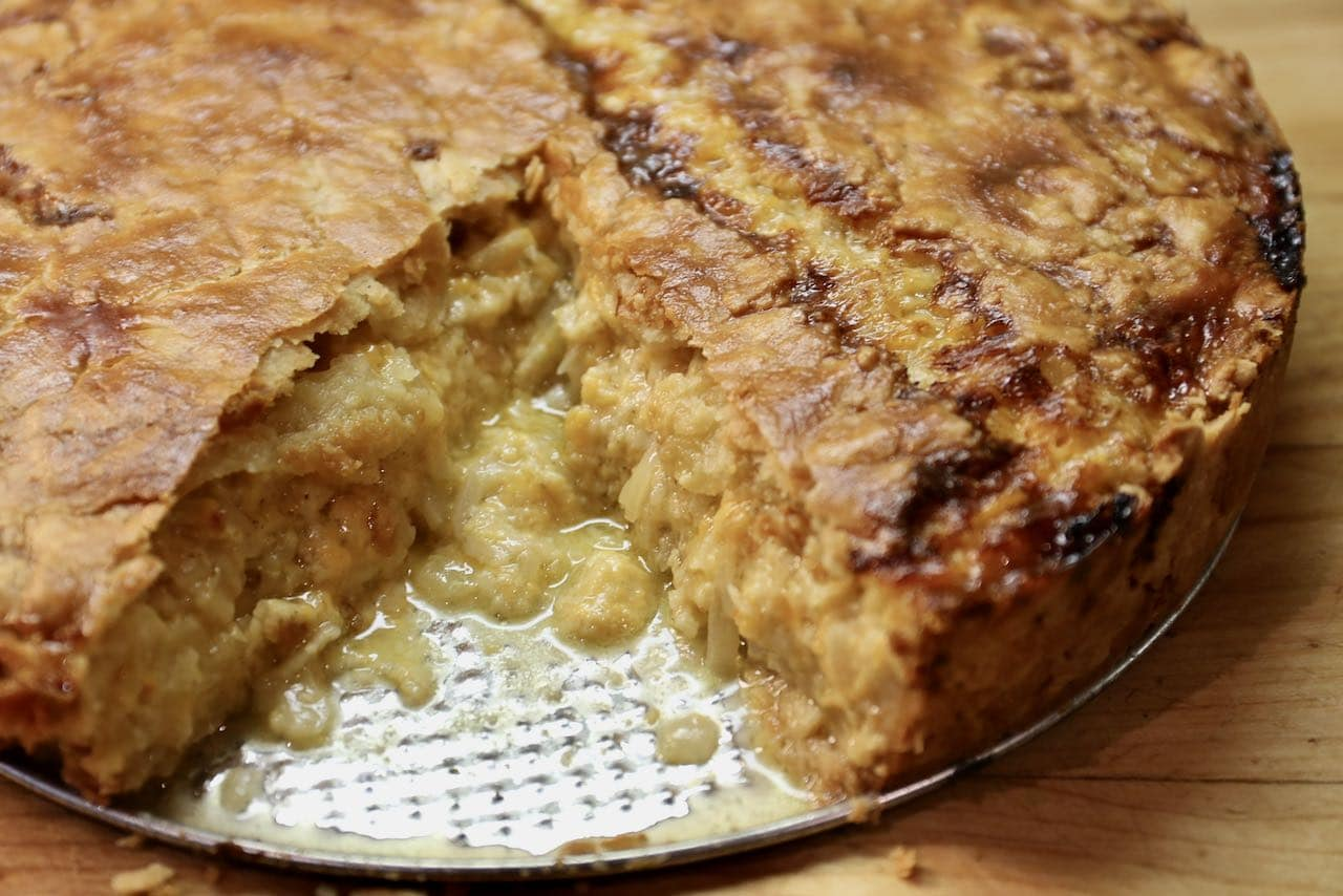 Old School Cheese and Onion Pie features a crunchy exterior and moist and creamy interior.
