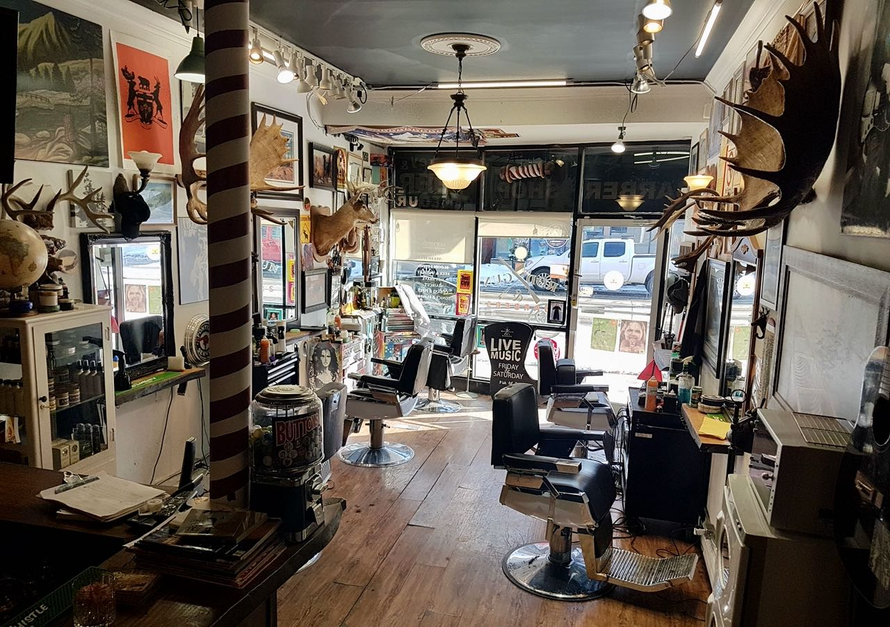 The interior of Rod, Gun and Barbers in Toronto.