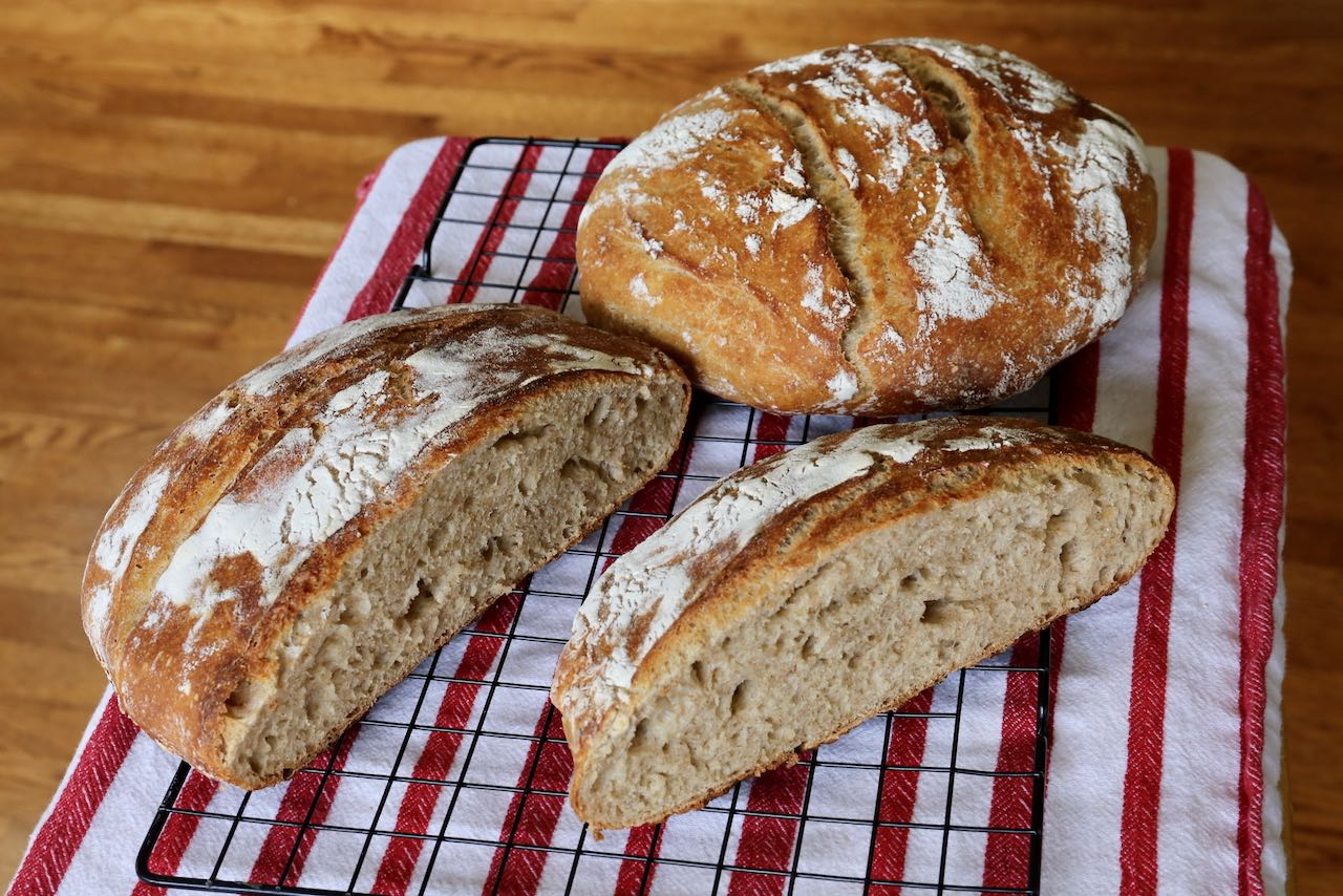 Enjoy a slice of Sourdough Discard Country Loaf.