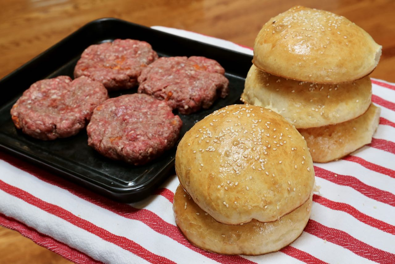 Sourdough Discard Recipes: Sesame seed topped hamburger buns.