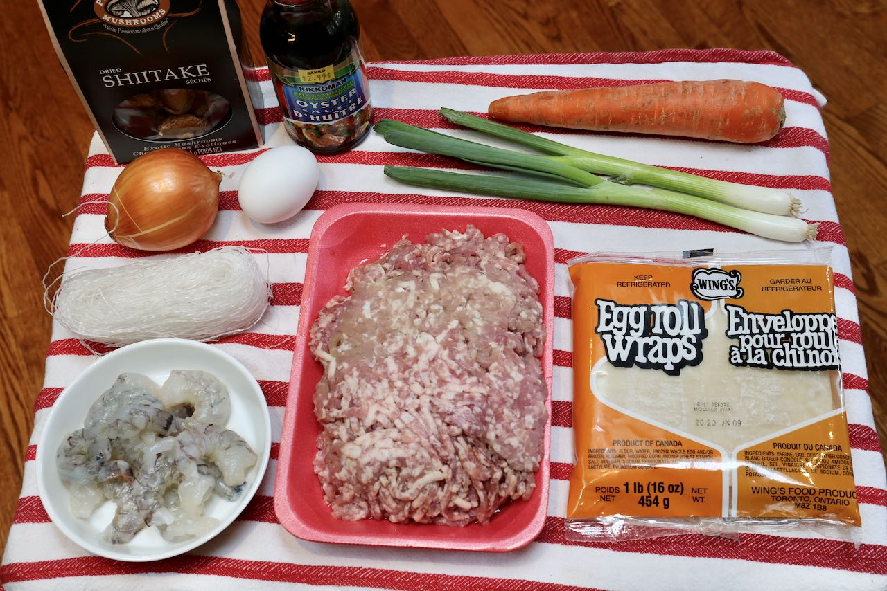 Ingredients you'll need to make easy Vietnamese Egg Rolls.