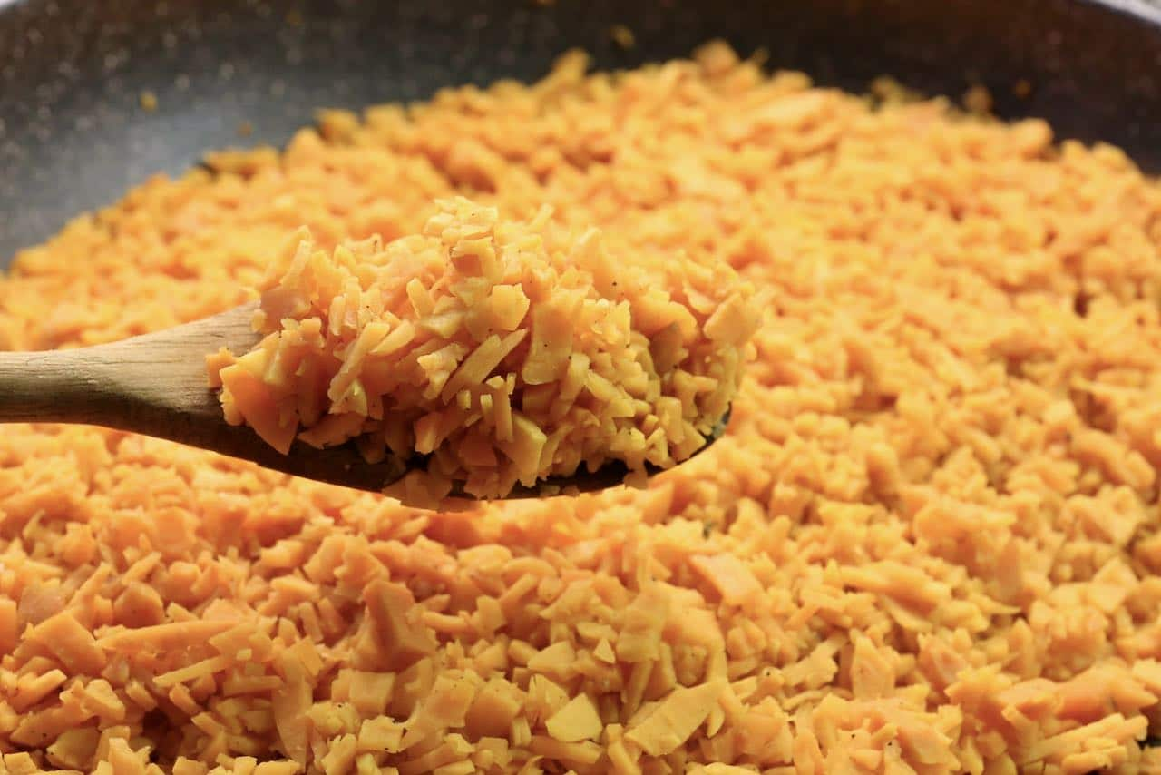 """In a large non-stick pan sauté """"rice"""" until it has browned."""