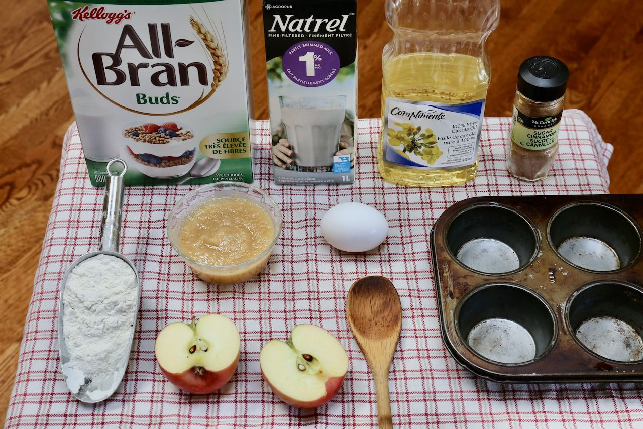 Ingredients you'll need to make Bran Muffins with Applesauce.