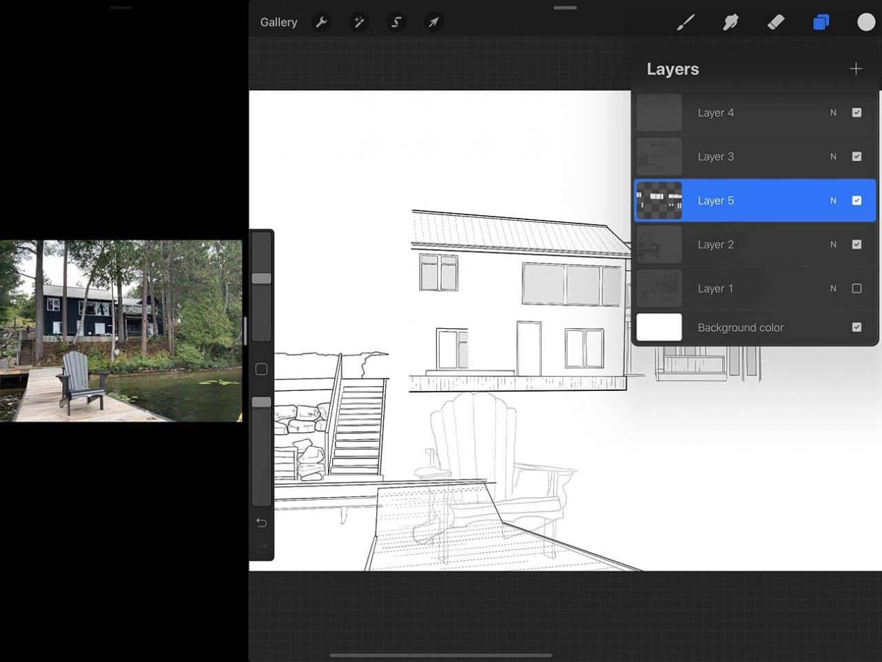 Procreate tutorial: the steps for how to draw a cottage are nearly the same on iPad Pro as they would be on paper
