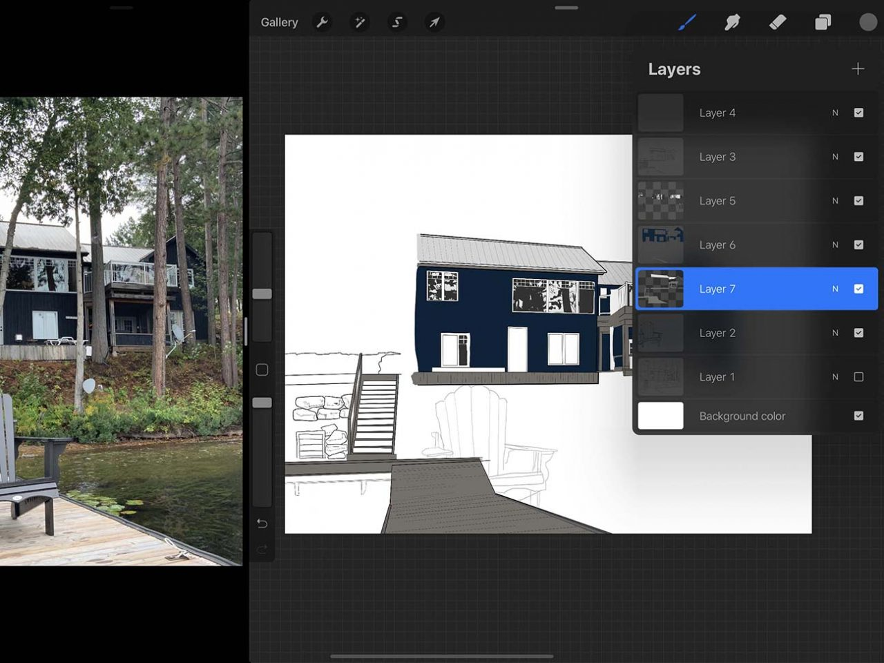 """Special digital drawing features like the """"alpha lock"""" are an advantage to drawing a cottage on Procreate"""