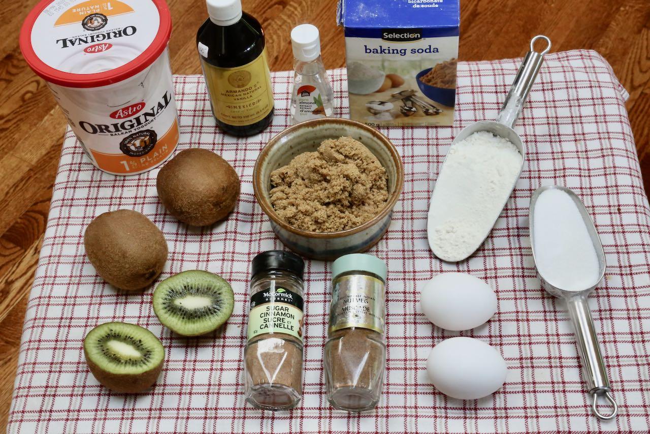 Ingredients you'll need to make Kiwi Muffins.