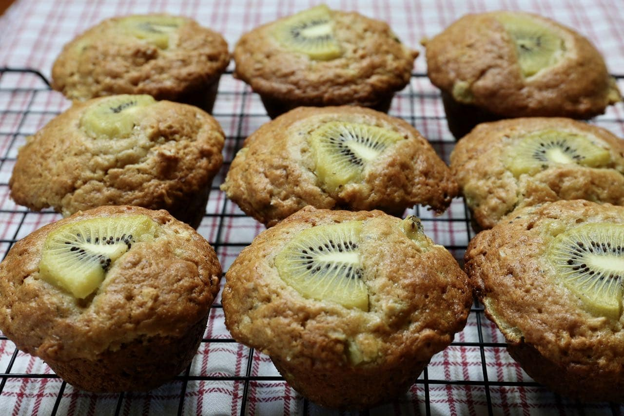 Cool Kiwi Muffins on a rack before serving.