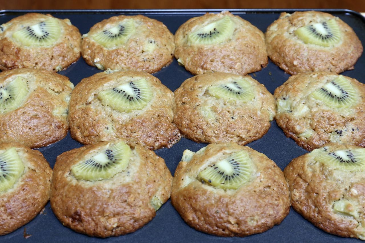 Serve Kiwi Muffins with butter, cream cheese or ricotta.
