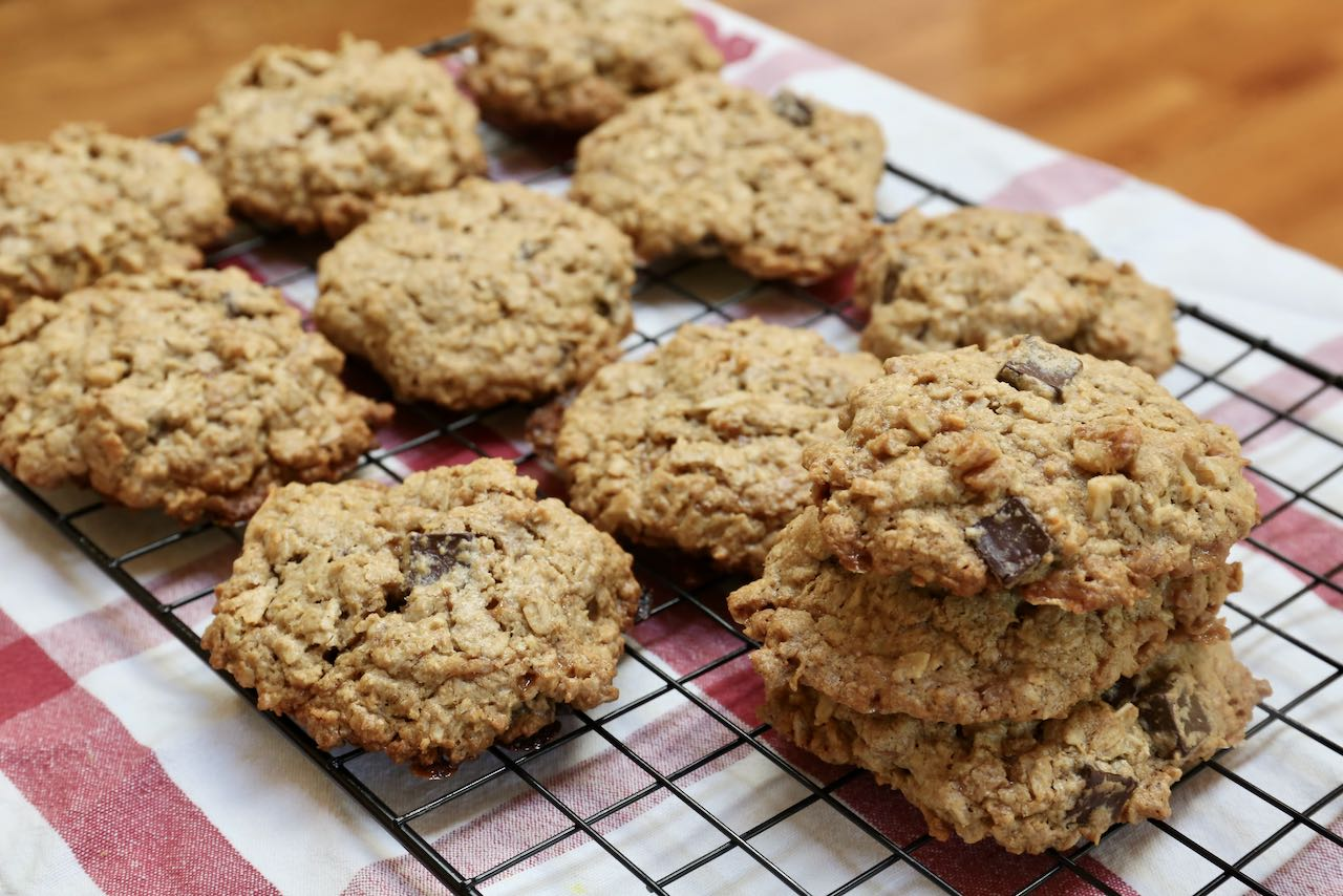 Cool Oat Flour Cookies on a rack before serving.