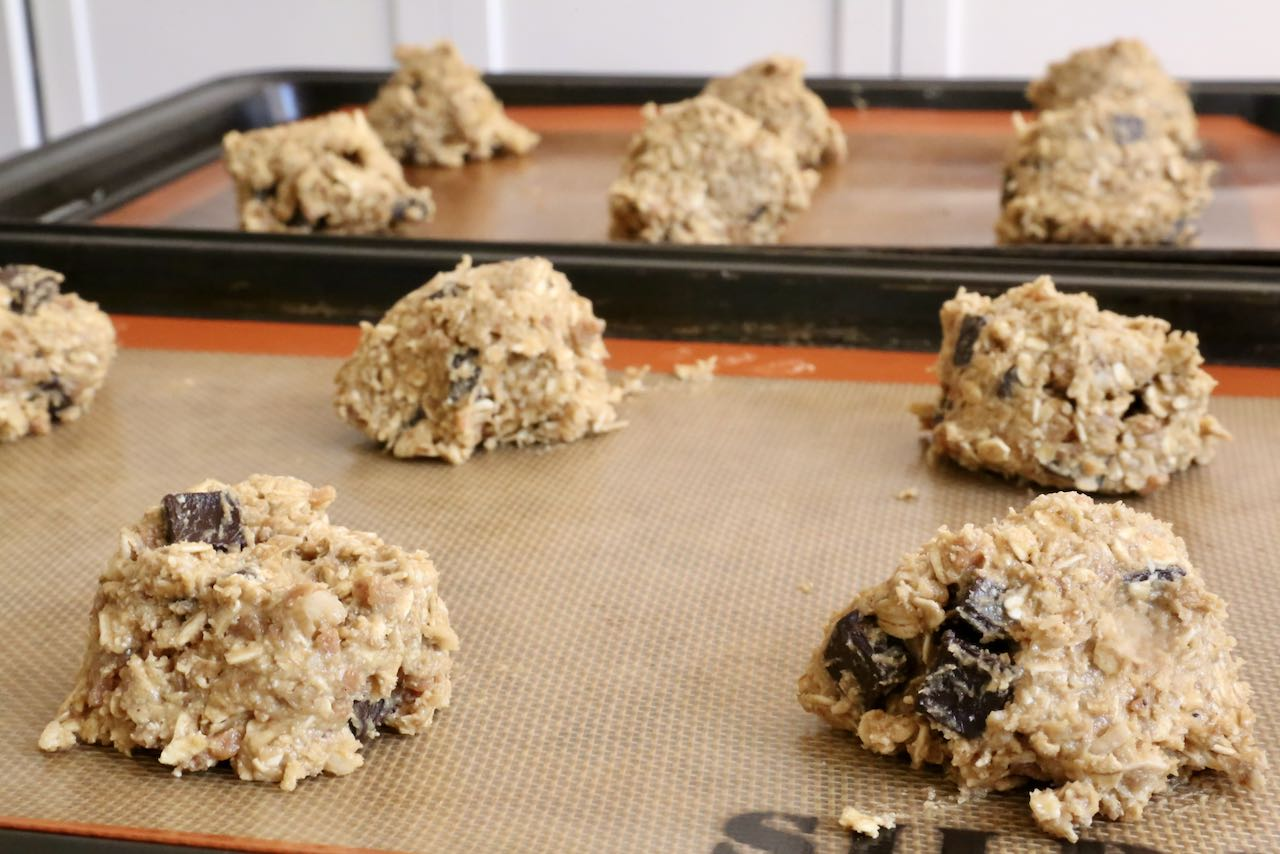 Scoop Oat Flour Cookies onto a lined baking sheet.