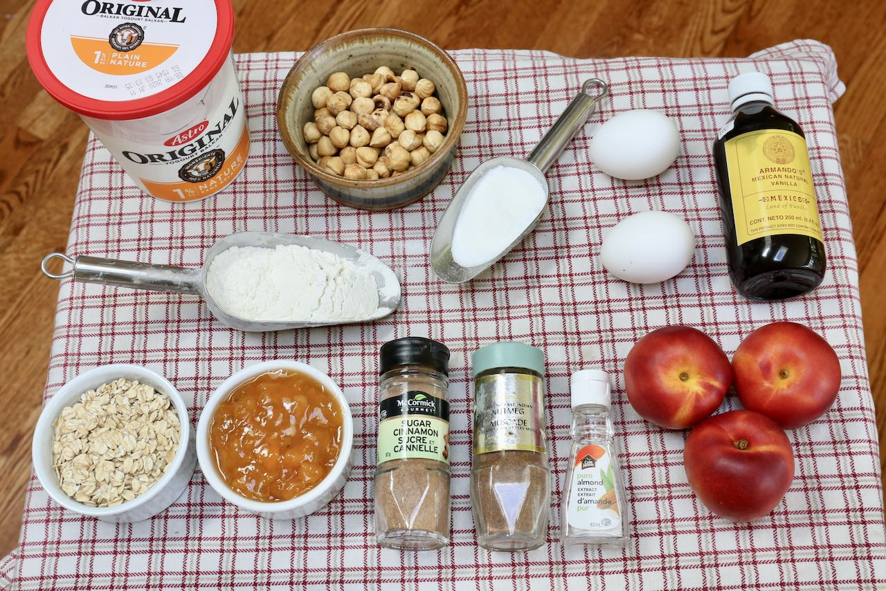 Ingredients you'll need to make Healthy Peach Cobbler Muffins.