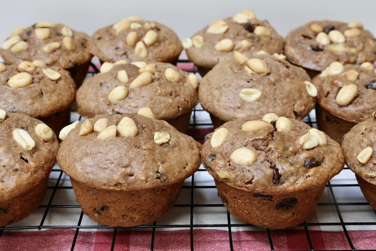 Let Peanut Butter Chocolate Chip Muffins cool on a rack before serving.