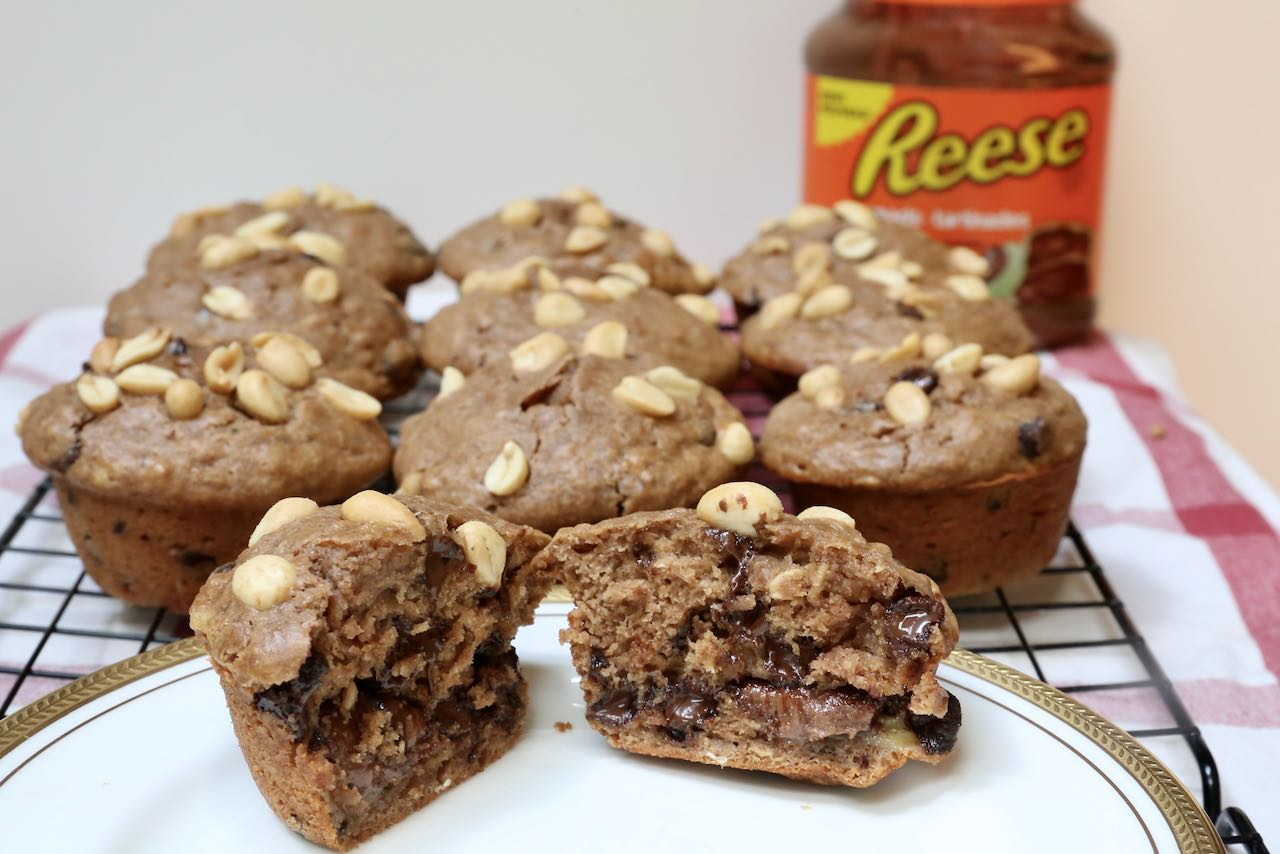 The best Peanut Butter Chocolate Chip Muffins are stuffed with a secret surprise!