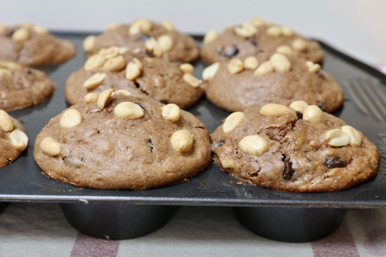 Peanut Butter Chocolate Chip Muffins are a perfect midday snack or late night dessert.