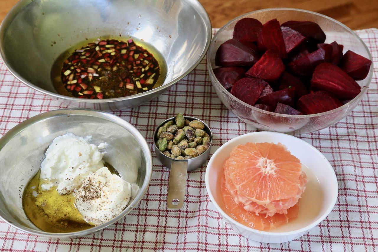 Beetroot Salad Ingredients: Prepare vinaigrette, herbed cream, sliced grapefruit and pistachio.