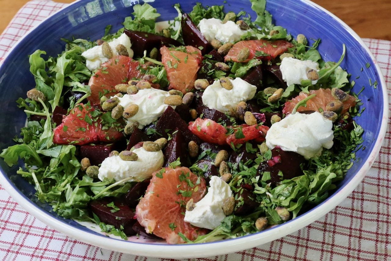 Roasted Beet Salad is a juicy and crunchy cold salad perfect for summer barbecues.