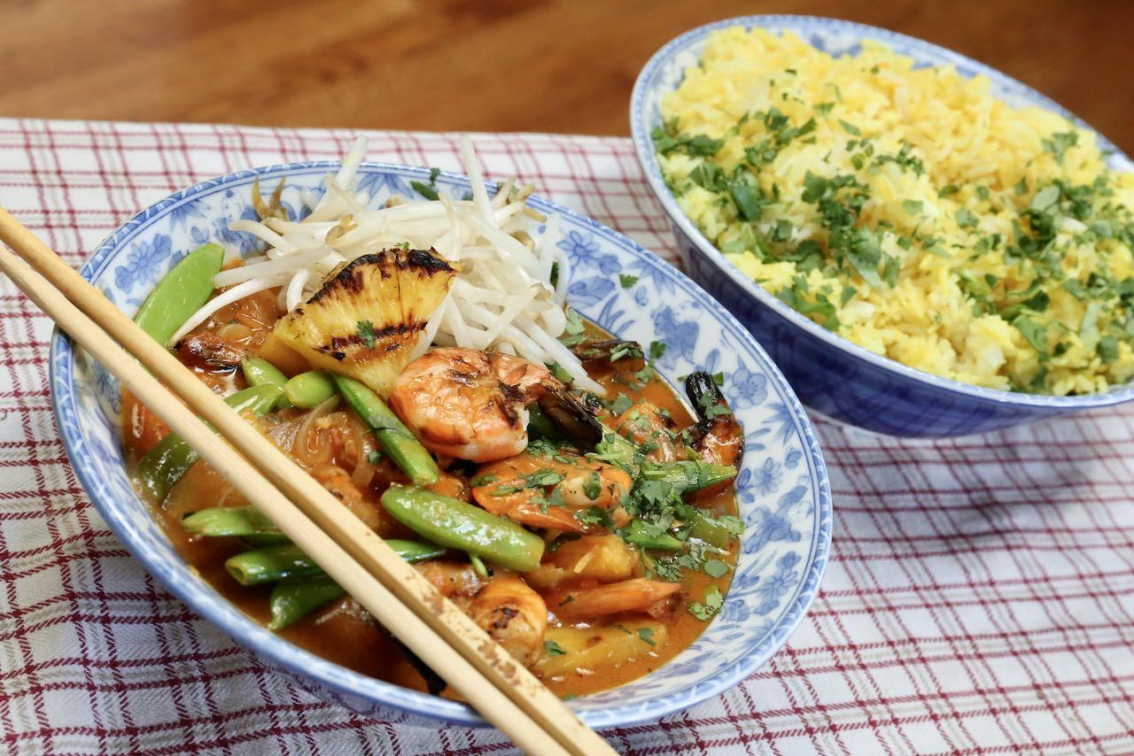 Serve Thai Red Prawn Curry alongside coconut turmeric rice.