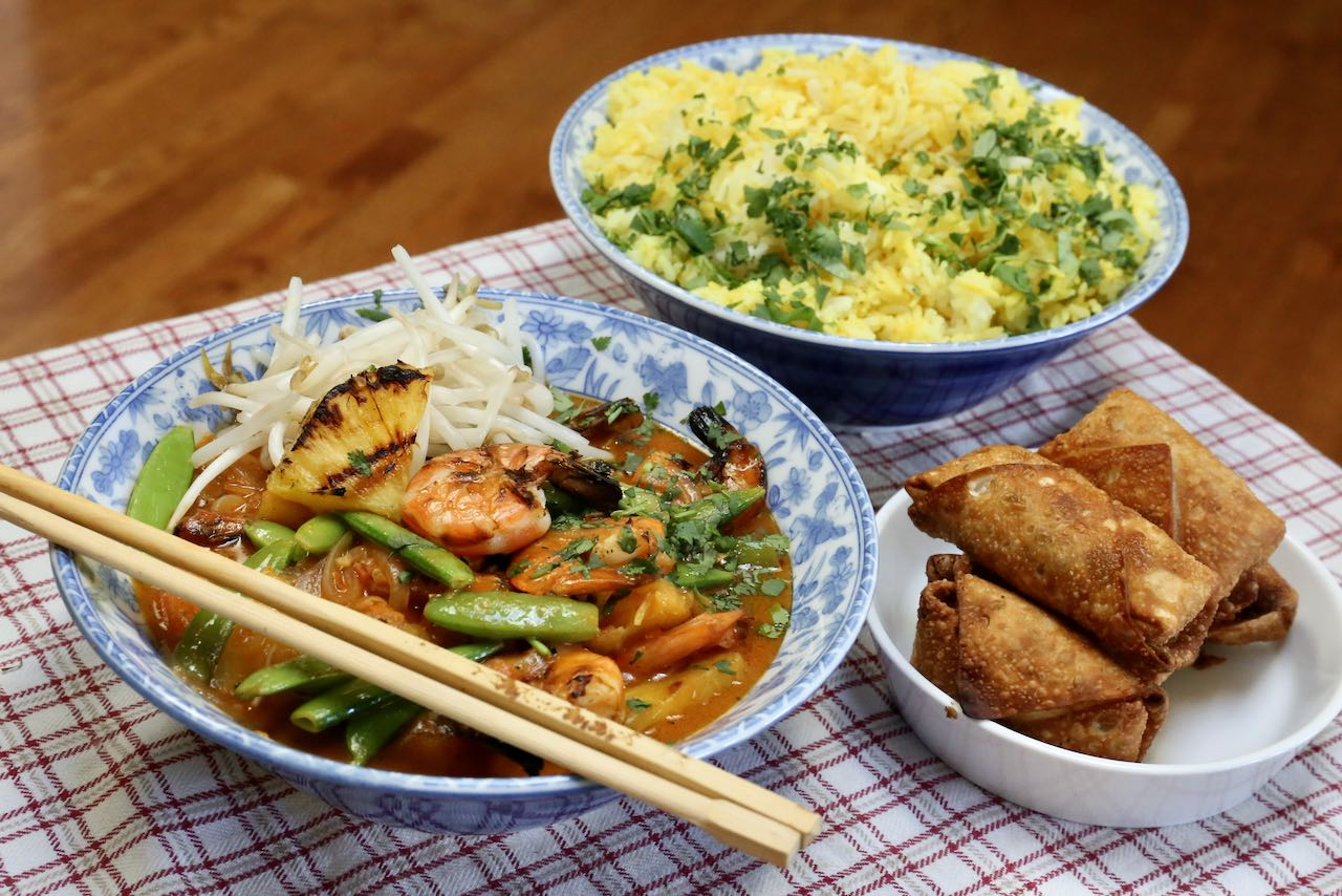 Serve a more substantial meal by serving Thai Prawn Curry alongside coconut turmeric rice and shrimp egg rolls.