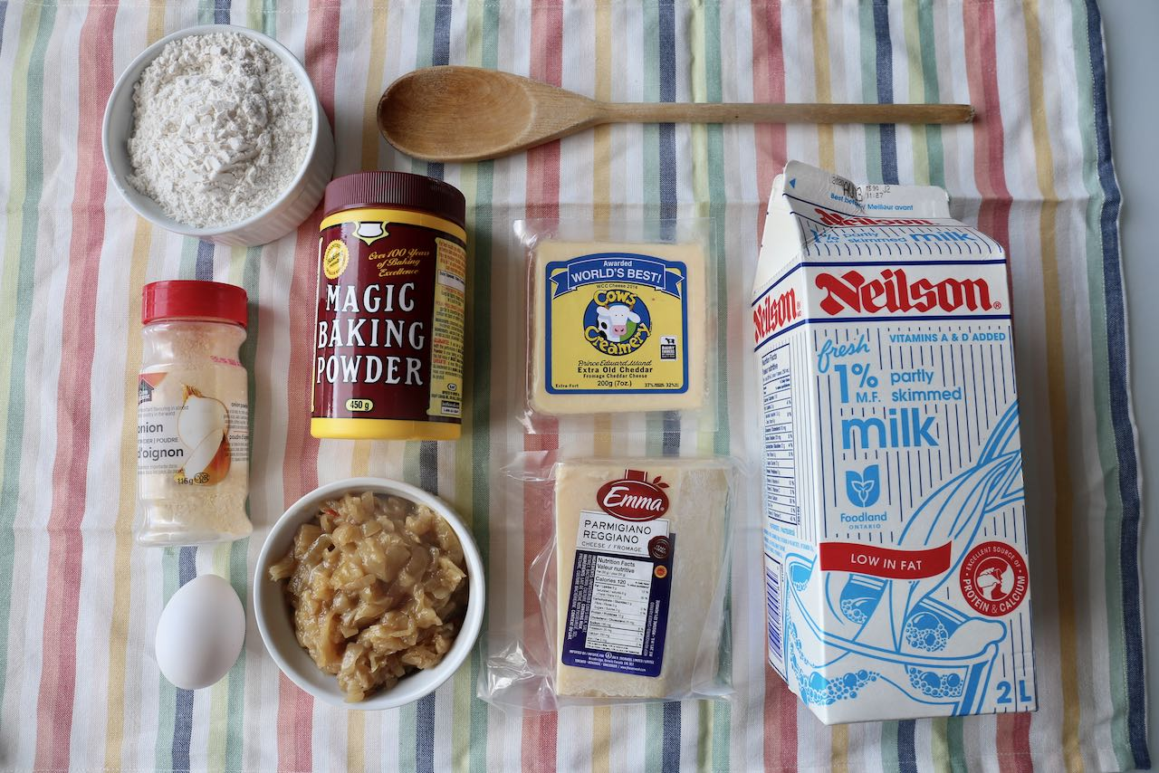 Ingredients you'll need to make our Cheese and Onion Muffins recipe.