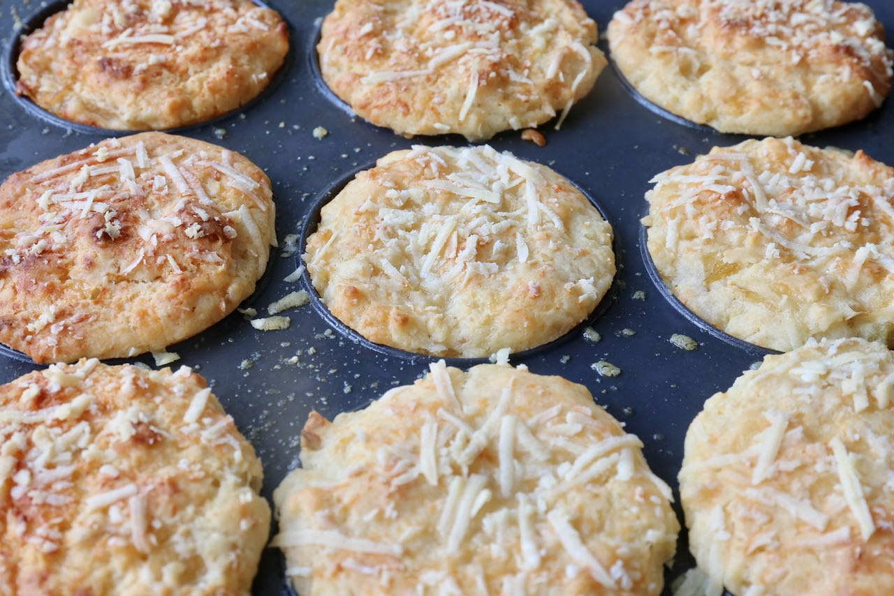 Remove Cheese and Onion Muffins from the oven once they have browned and the parmesan topping is crispy.