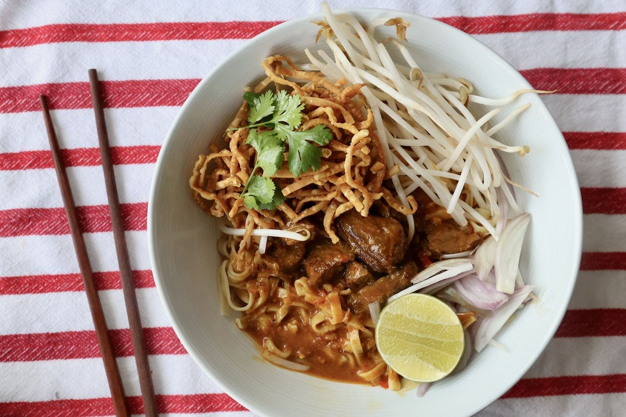 Chiang Mai Noodles are a hearty Fall or Winter weeknight dinner idea.