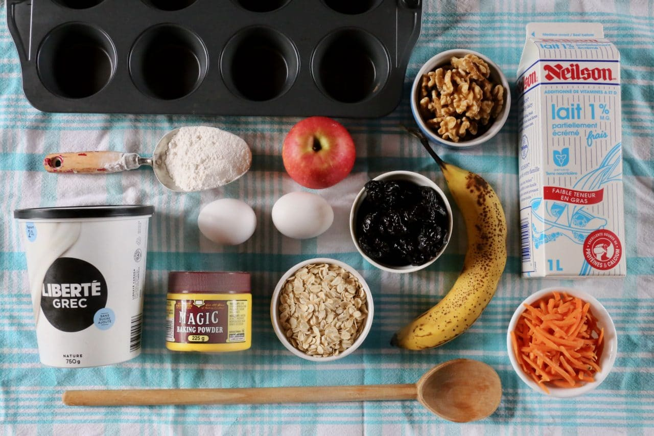 Ingredients you'll need to make Prune Muffins.