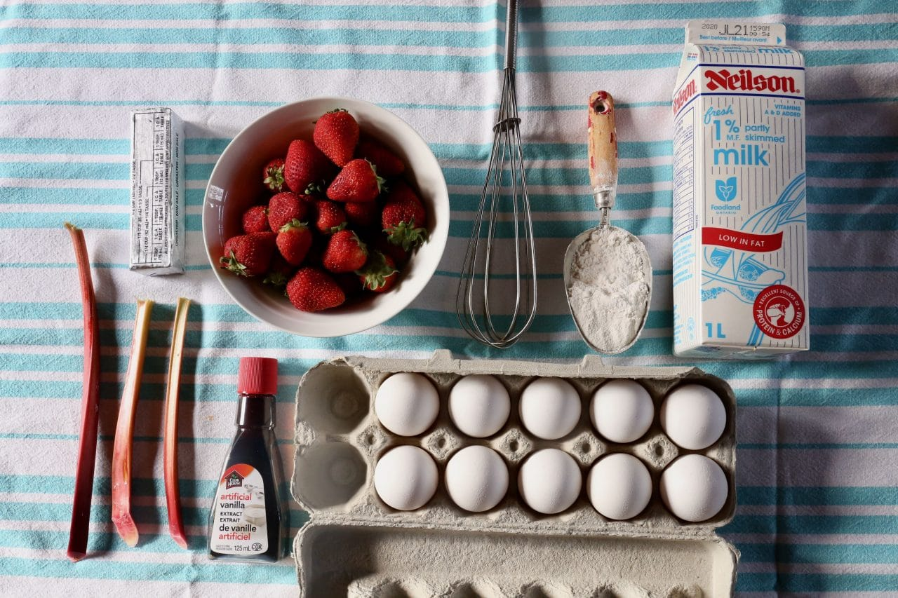 Ingredients you'll need to make our Rhubarb Strawberry Dutch Baby recipe.