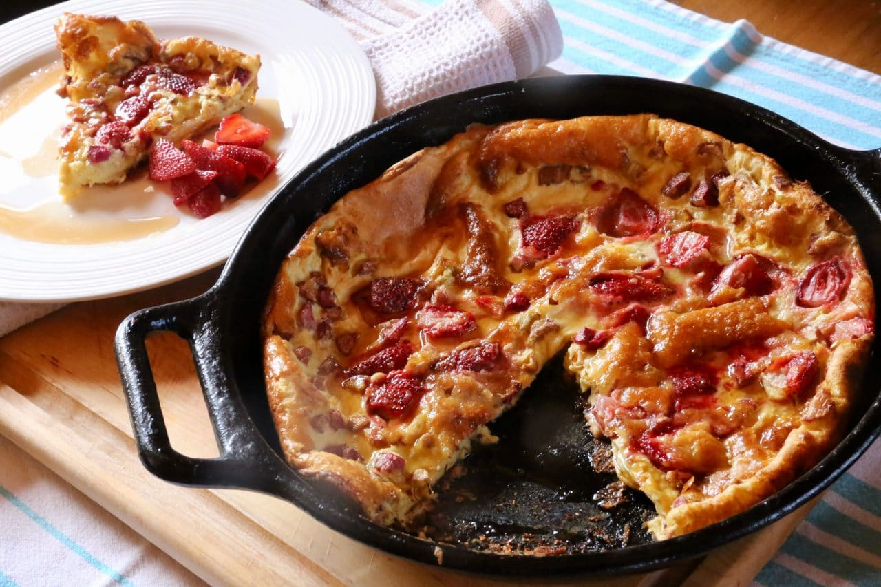 Rhubarb Strawberry Dutch Baby German Pancakes