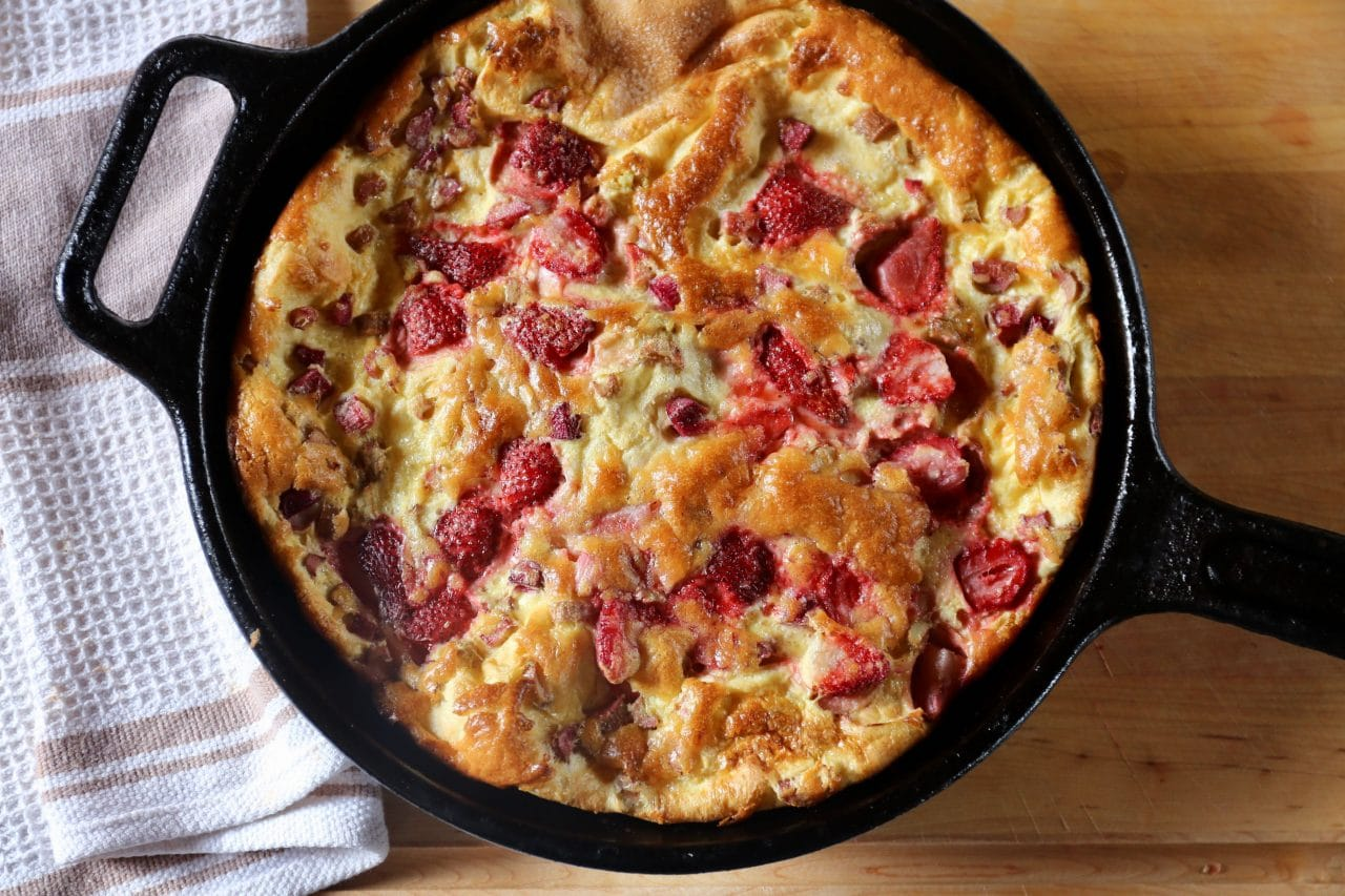 Serve Strawberry Dutch Baby immediately after taking it out of the oven to avoid deflation.