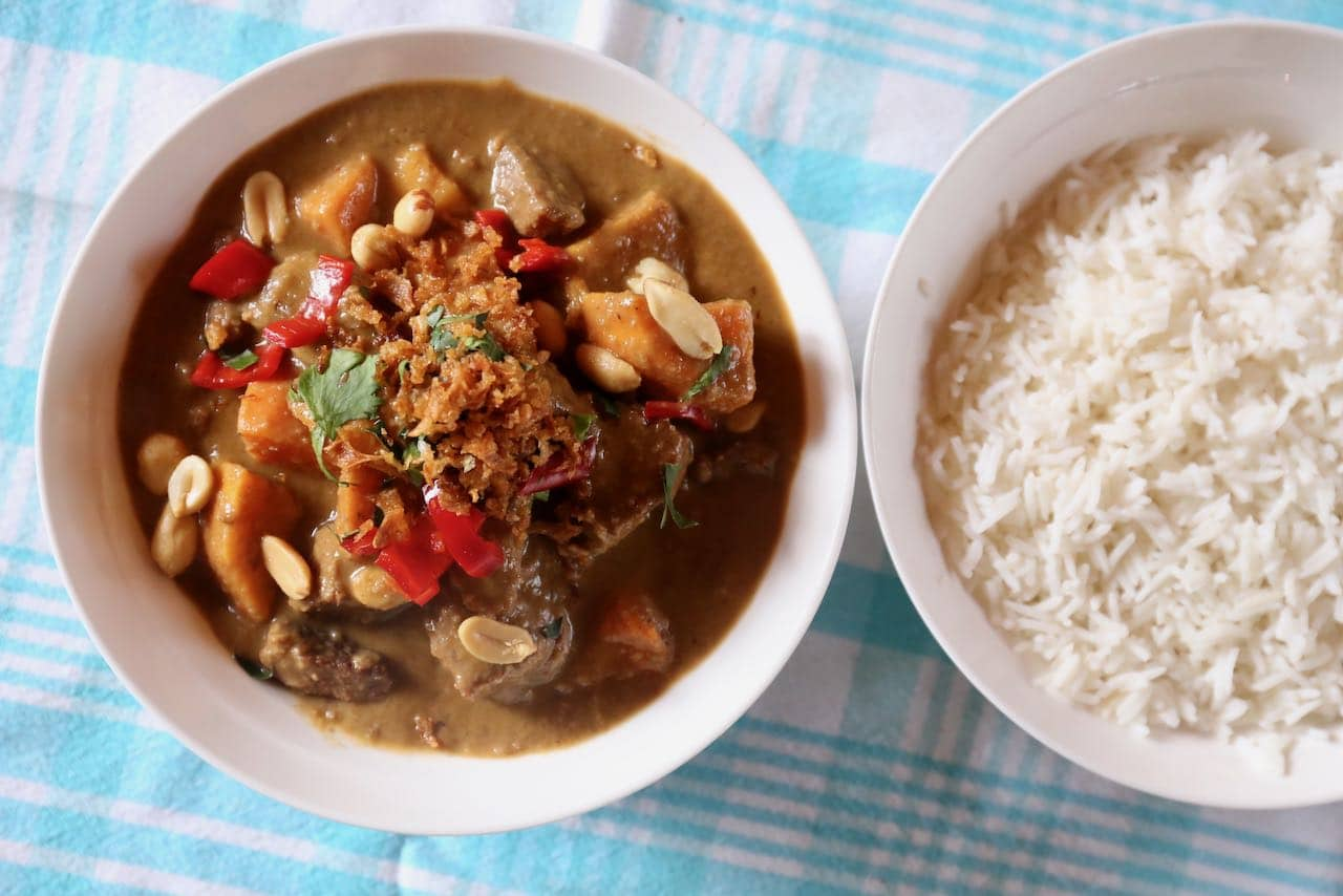 Serve our Authentic Massaman Curry Recipe alongside steamed jasmine rice.