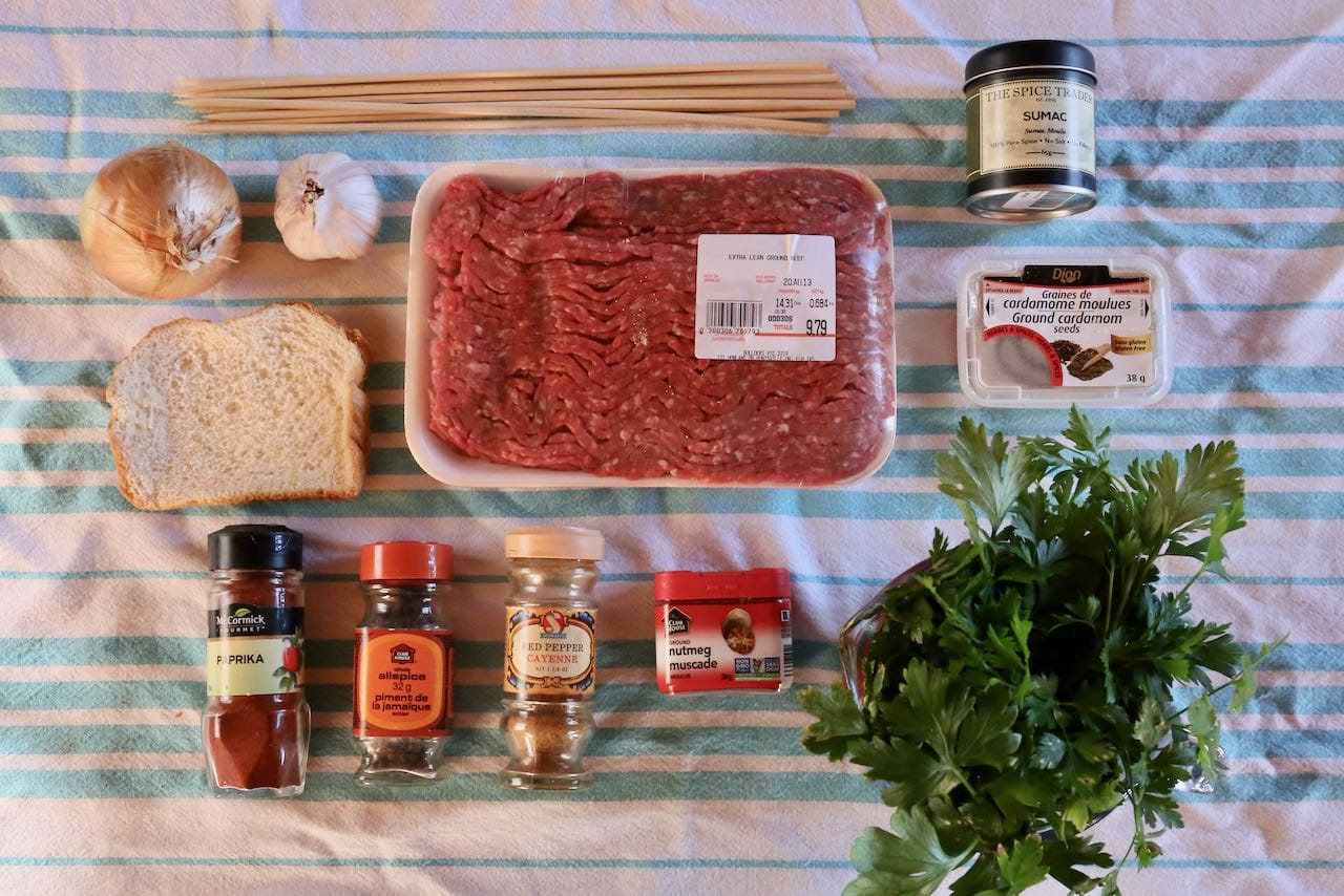 Ingredients you'll need to make our Save our Beef Kafta Afghan Kebab Recipe.