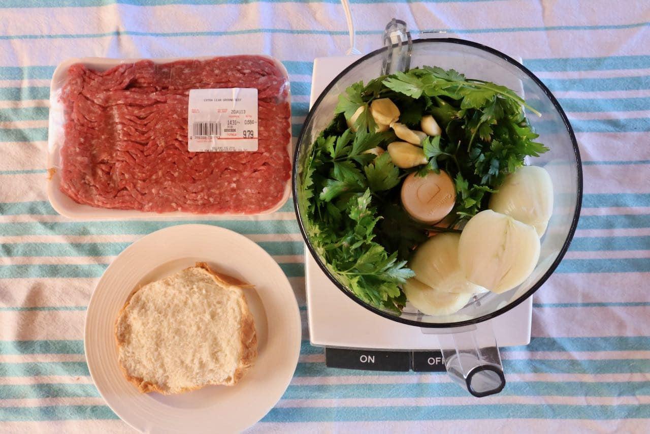 Blend beef kafta ingredients in a food processor.