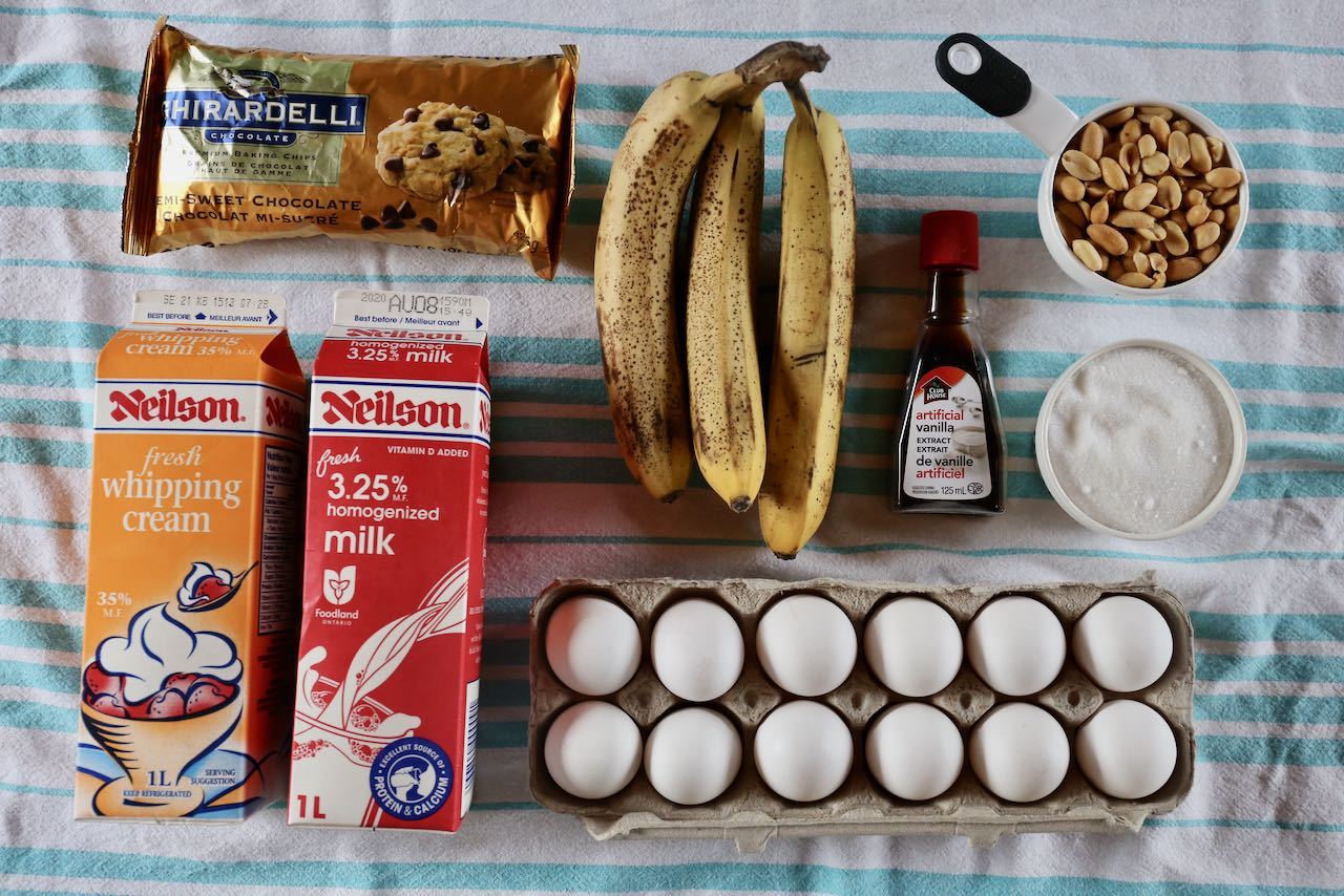 Ingredients you'll need to make our homemade Banana Nut Ice Cream.