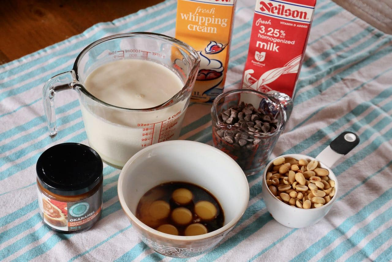Ice cream ingredients include whole milk, whipping cream, eggs, caramel, peanuts and chocolate chips.
