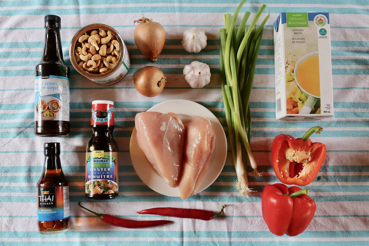 Ingredients you'll need to make our Thai Cashew Chicken recipe.