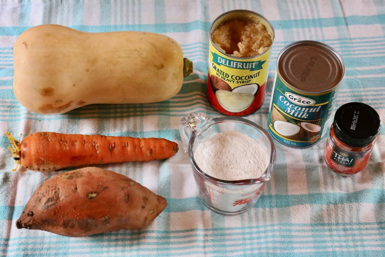 Ingredients you'll need to make our Grabong Thai Pumpkin Fritter recipe.