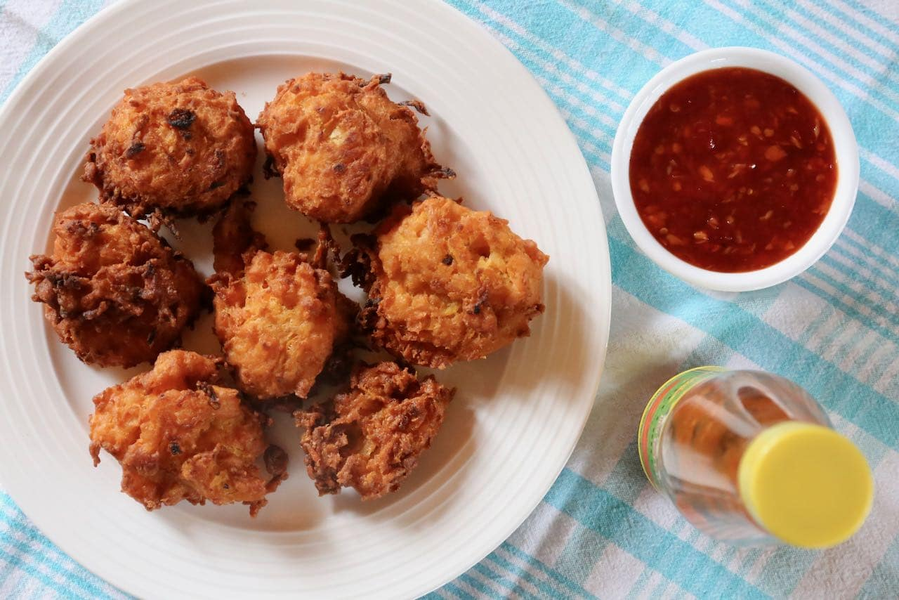 Serve grabong pumpkin fritters with Thai sweet chili dipping sauce.