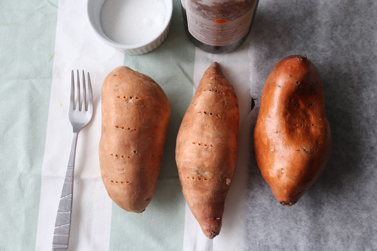 Baked Sweet Potato Recipe Step 1: Pierce potatoes with the tines of a fork and rub with oil.