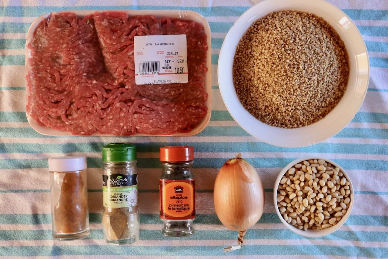 Ingredients you'll need to make authentic homemade Lebanese Kibbeh.