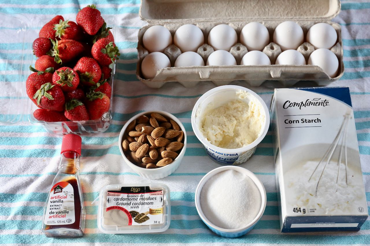 Ingredients you'll need to make homemade Swedish Midsommar Jordgubbstårta Strawberry Cake.