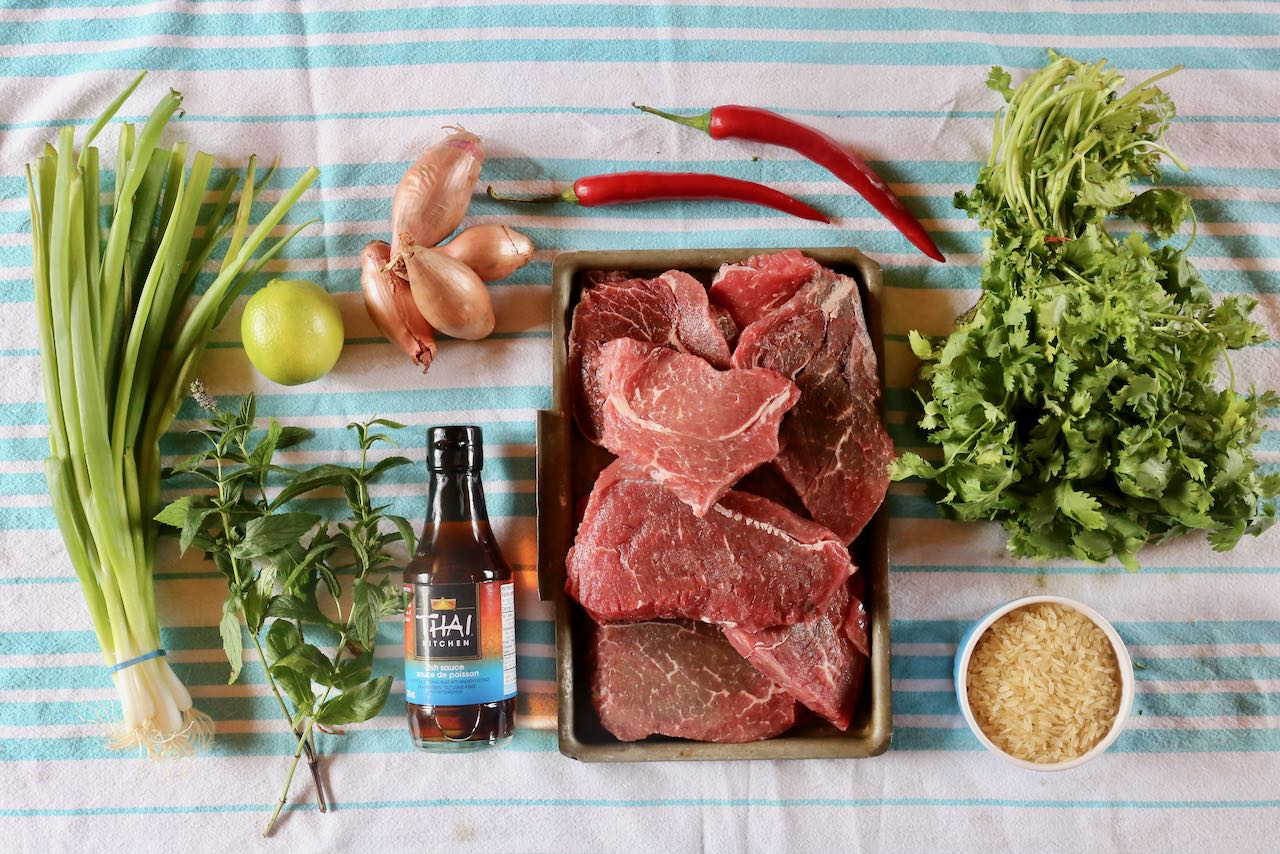 Ingredients you'll need to make our Thai Nam Tok Beef Salad Recipe.