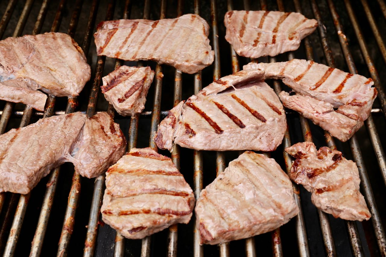 Grill steak on the barbecue until medium rare and juicy.