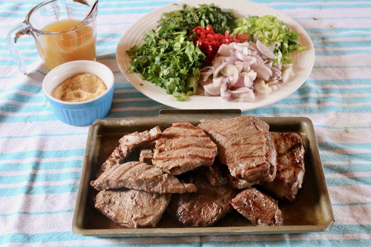 Let steak cool before slicing and assembling your Thai beef salad.