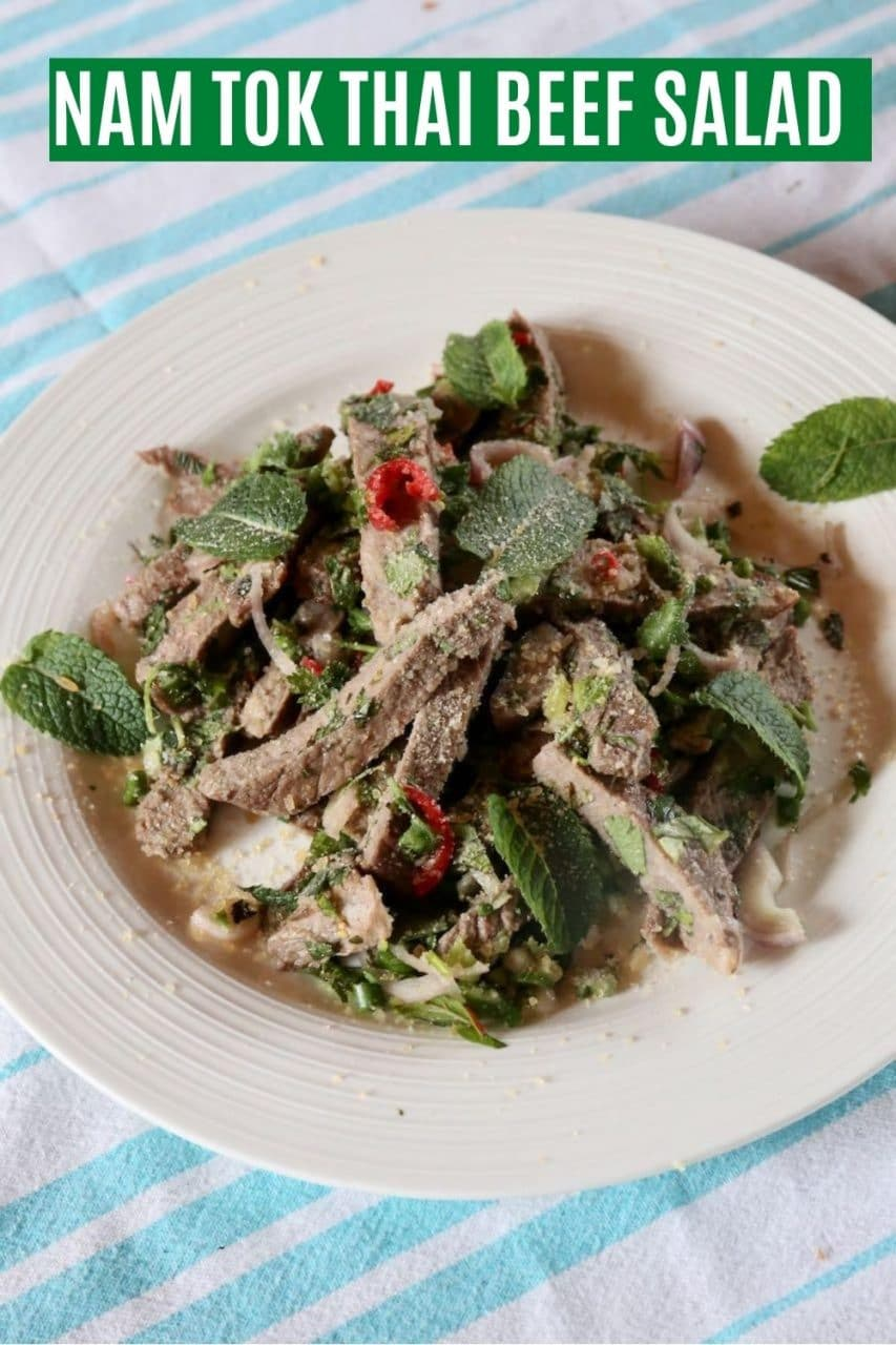 """Save our Nam Tok Authentic Thai """"Waterfall Beef"""" Salad recipe to Pinterest!"""