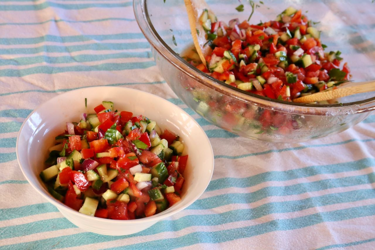 Enjoy healthy vegetarian Egyptian Salad as a light lunch or serve out of a large bowl at dinner as a side dish.