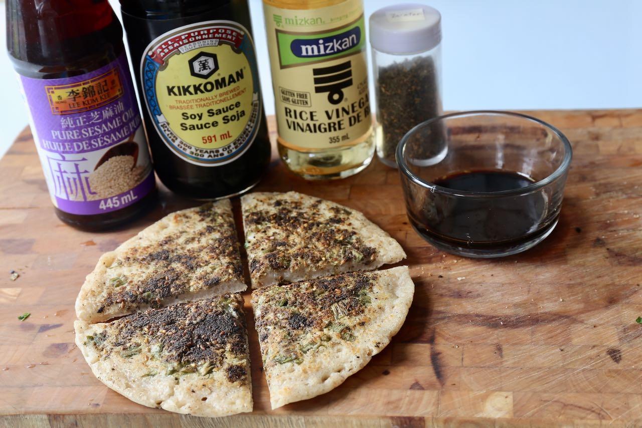 Scallion Flatbread topped with za'atar is our favourite quick & easy sourdough discard recipe.
