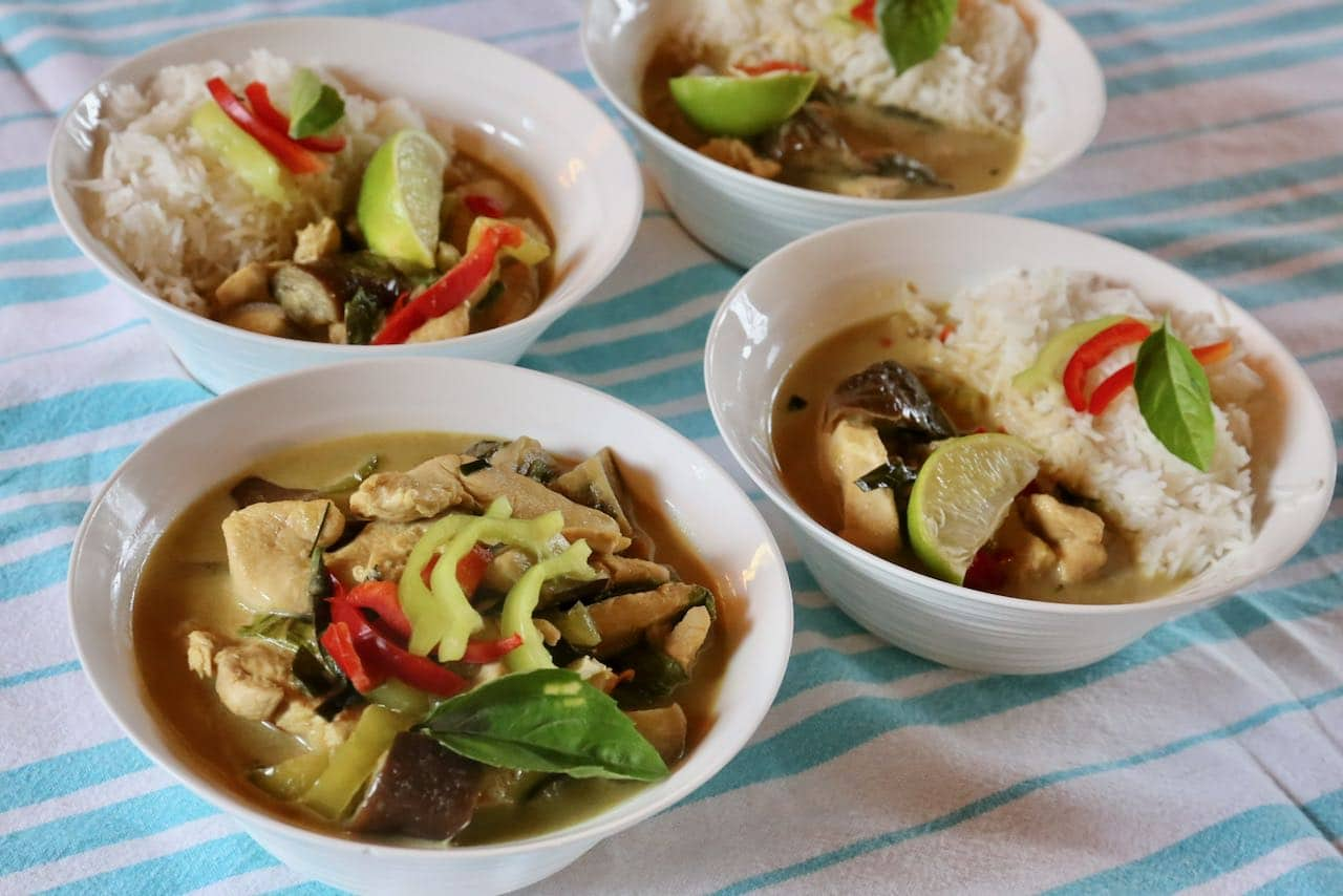 Host a traditional Thai feast by serving Gaeng Keow Wan and coconut rice in large bowls.
