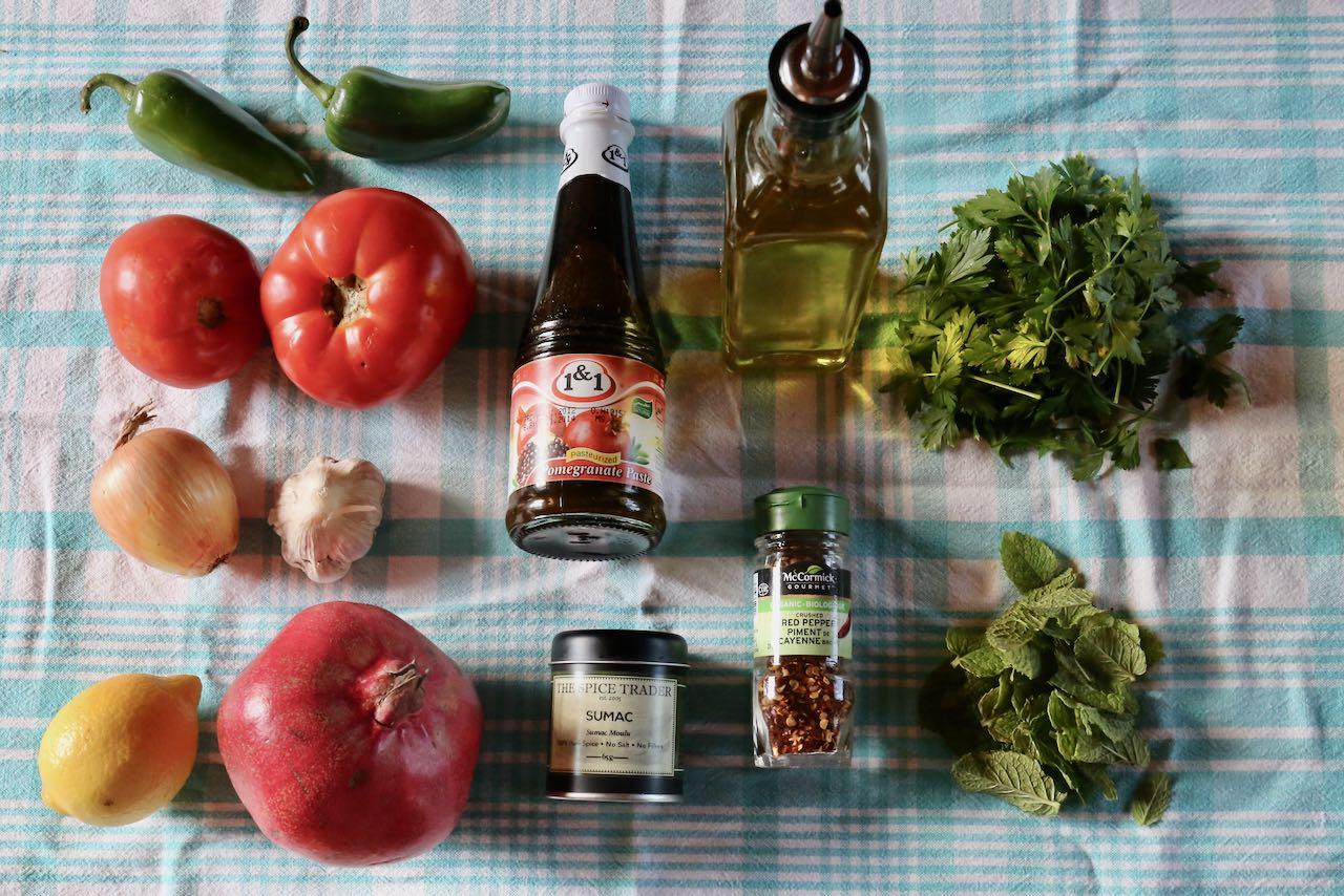 "Ingredients you'll need to make ""Ezme Salata"" Turkish salad."