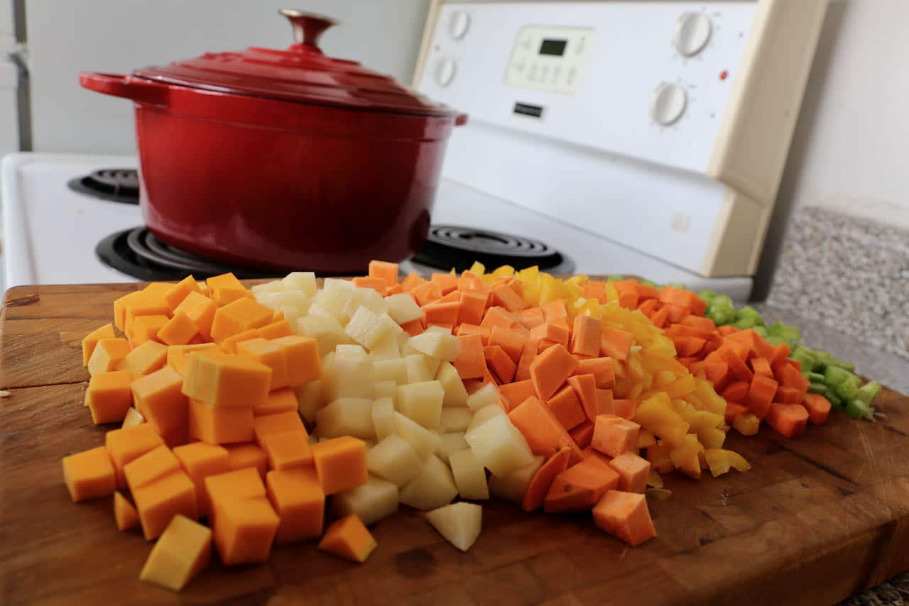 Our healthy Ajiaco Cubano recipe features squash, potato, sweet potato, bell peppers, carrot and celery.