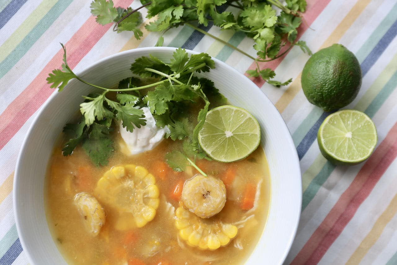 Hearty Cuban Soup with shredded chicken is the perfect meal to enjoy on a cold winter day.